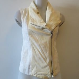 VINCE CREAM LEATHER & MATERIAL VEST XS*
